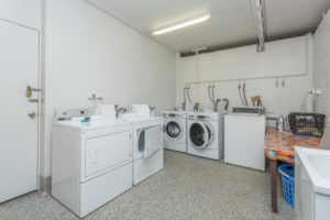 Shared laundry facilities in our amenities block